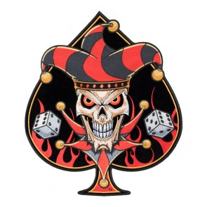 Embroidered Lucky Jester Blazing Spade Patch