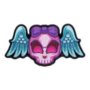 Embroidered Blue Winged Purple Girly Skull Patch