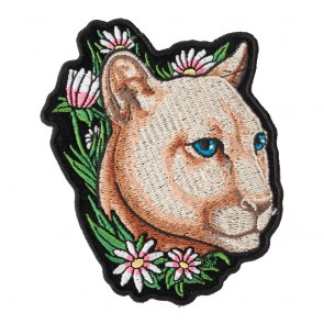 Embroidered Flowered Purring Mountain Lion Patch