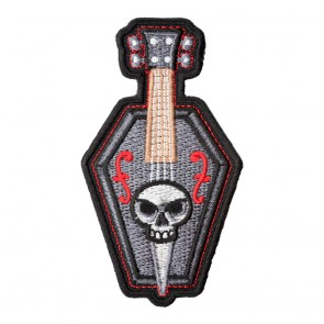 Embroidered Coffin Bass & Skull Patch