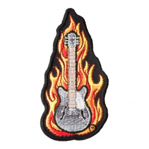 Embroidered Burning Down the Bass Guitar Patch