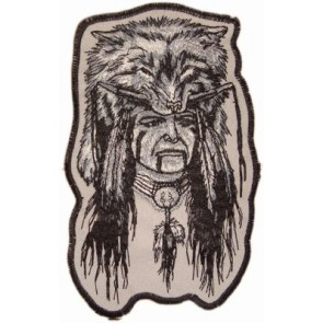 White Indian Wolf Headdress Patches