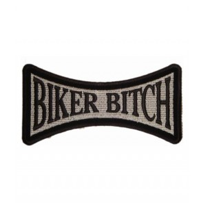Biker Bitch Black & Grey Patch, Women's Biker Patches