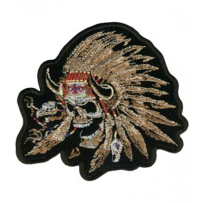 Indian Chief Skull & Tan Feathers Patch, Native American Patches