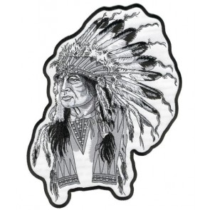 White Indian Chief Patch, Native American Patches