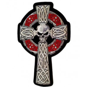 Celtic Cross Skull Grey & Red Patch, Biker Back Patches