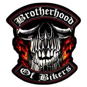 Brotherhood of Bikers Skull Patch, Biker Back Patches