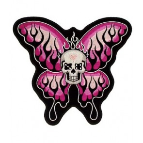 Pink Flaming Butterfly Skull Patch, Ladies Patches