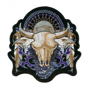 Badlands Cow Skull V-Twin Patch, Native American Patches