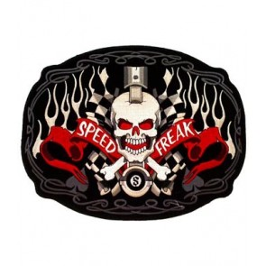 Speed Freak Skull & Checkered Flag Patch, Motorcycle Patches