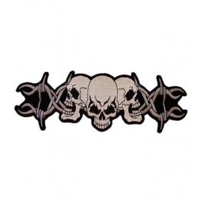 3 Skulls On Barbed Wire Patch, Biker Skull Patches