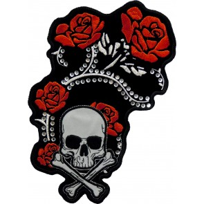 Embroidered Rhinestone Red Foil Roses Reflective Skull Patch