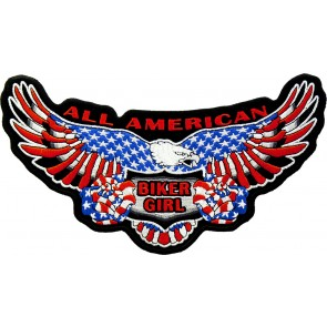 Embroidered All American Biker Girl Flag Eagle Embroidered Patch