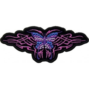 Embroidered Tribal Purple Butterfly Studded Patch