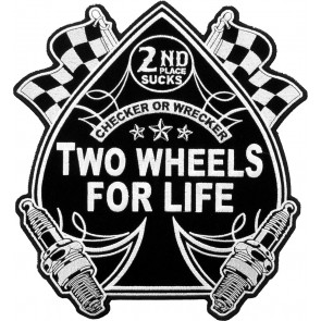Two Wheels For Life Embroidered Spade Patch