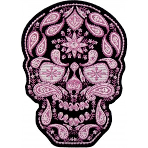 Embroidered Pink Paisley Skull Rhinestone Patch