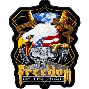Freedom Of The Road Eagle Embroidered Sew On Patch