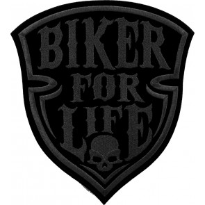 Bronze Biker For Life Shield Skull Patch