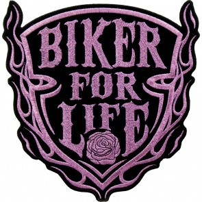 Women's Biker For Life Pink Rose Shield Metallic Pink Patch