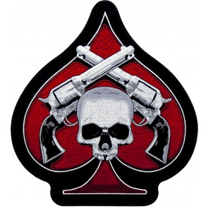 Red Spade Skull & Pistols Embroidered Patch