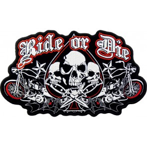 Embroidered Ride Or Die Spade Skulls Patch