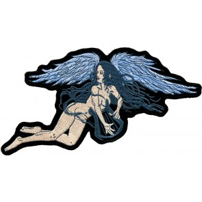Embroidered Angel Or Devil Blue Wings Patch