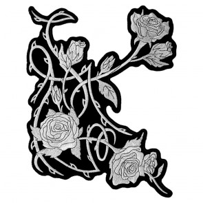 Embroidered Silver Metallic Roses & Thorns Patch