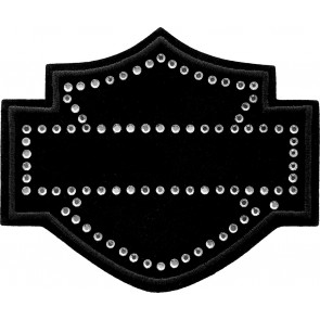 Bling Harley Davidson Black Bar & Shield Rhinestone Patch