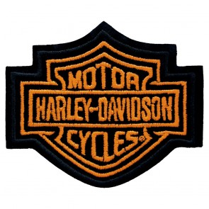 Embroidered Harley Davidson Bar & Shield Neon Orange Patch