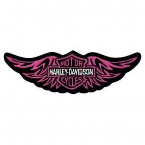 RARE Harley Davidson Straight Wing Pink Embroidered Patch