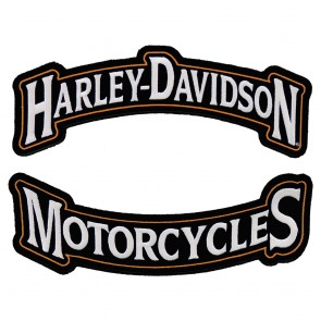 Sew On Harley Davidson Black & Orange Rocker Patch Set