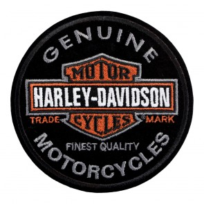 Embroidered Harley Davidson Circular Long Bar & Shield Sew On Patch