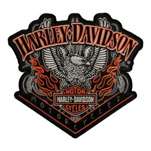 Embroidered Harley Davidson Eagle Pinstripes B&S Sew On Patch