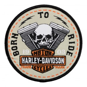 Embroidered Harley Born To Ride Bar & Shield Sew On Patch
