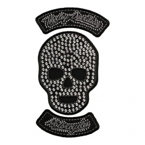 Harley Davidson Studded Star Skull Sew On Rhinestone Patch