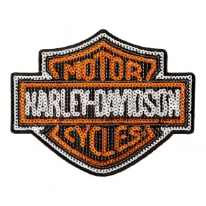 Harley Davidson Bar & Shield Sequins Orange Black & Silver Patch