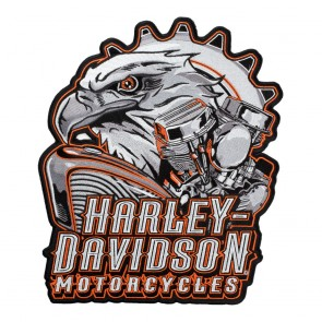 Harley Davidson Eagle Engine Subdued Grey Orange Outline Patch