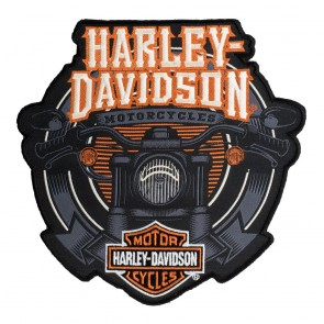 Orange and Black Harley Davidson Motorcycle Handlebars Woven Patch