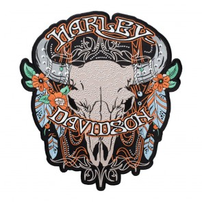 Harley Davidson Studded Steer Skull & Feathers Patch