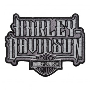 Grey Harley Davidson Spiked Text Reflective Patch