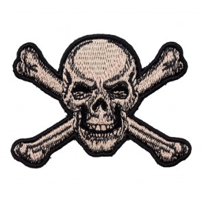 Angry Tan Skull & Crossbones Sew On Patch