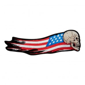 Charging Skull Distressed Flag Iron On Patch