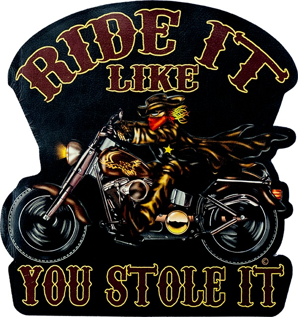 Name Tag Ride It Like You Stole It Embroidered Iron on Patch Free Postage