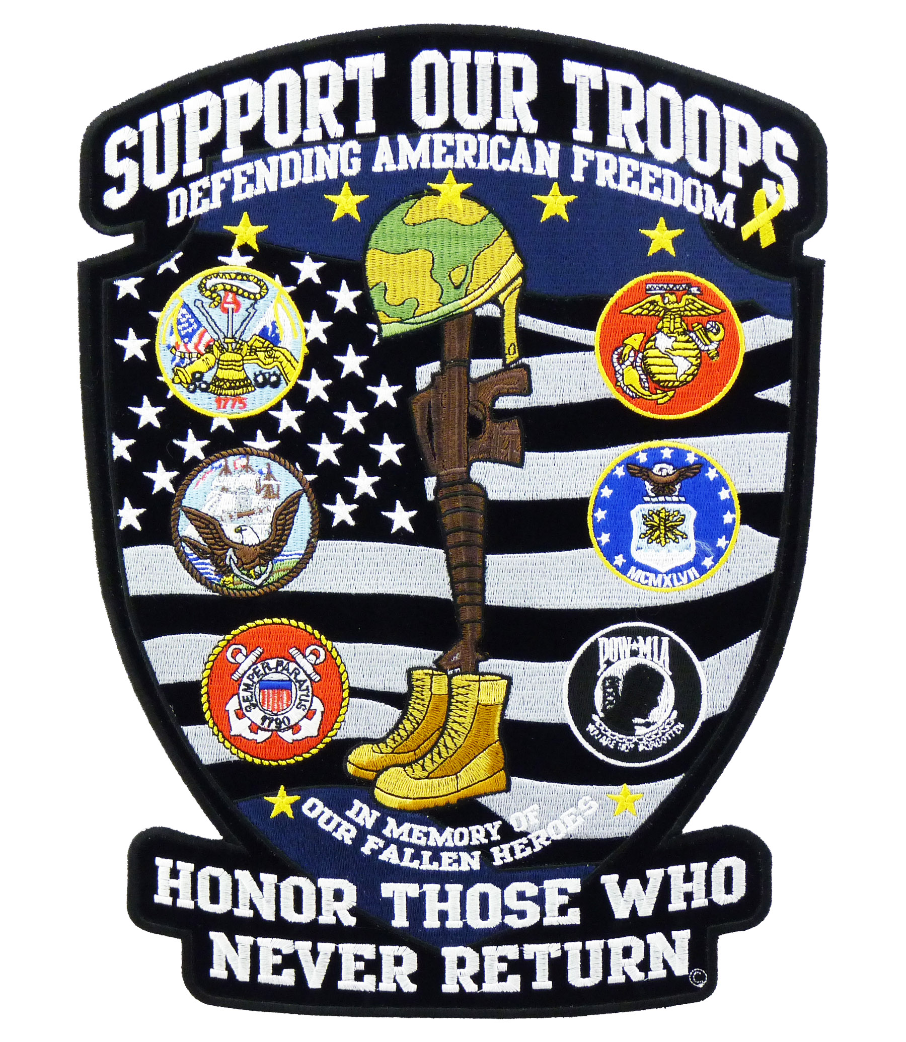 Support Our Troops Fallen Hero Shield Patch Military Patches