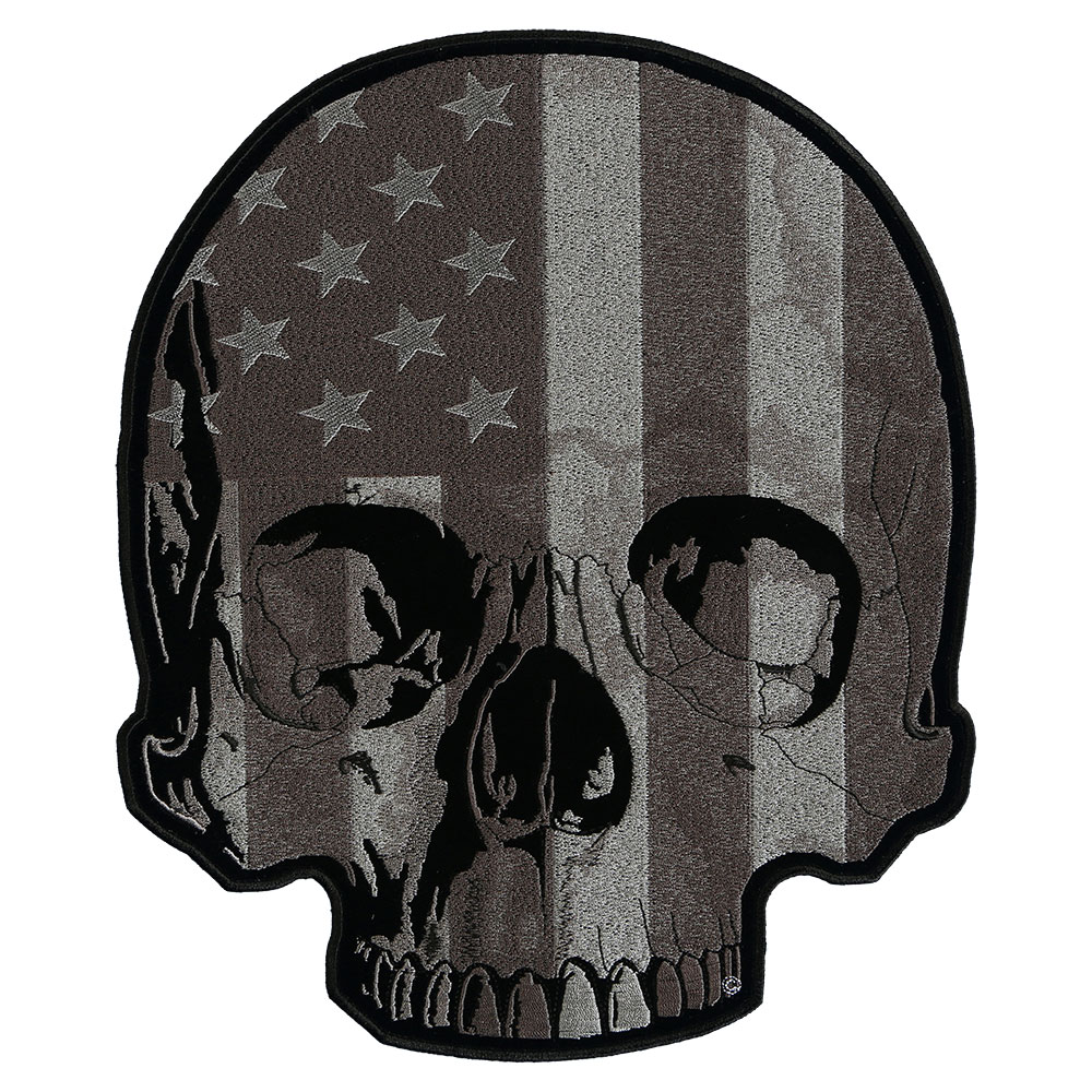 Leather jacket patches - American Flag Half Skull Subdued Patch Back Patches