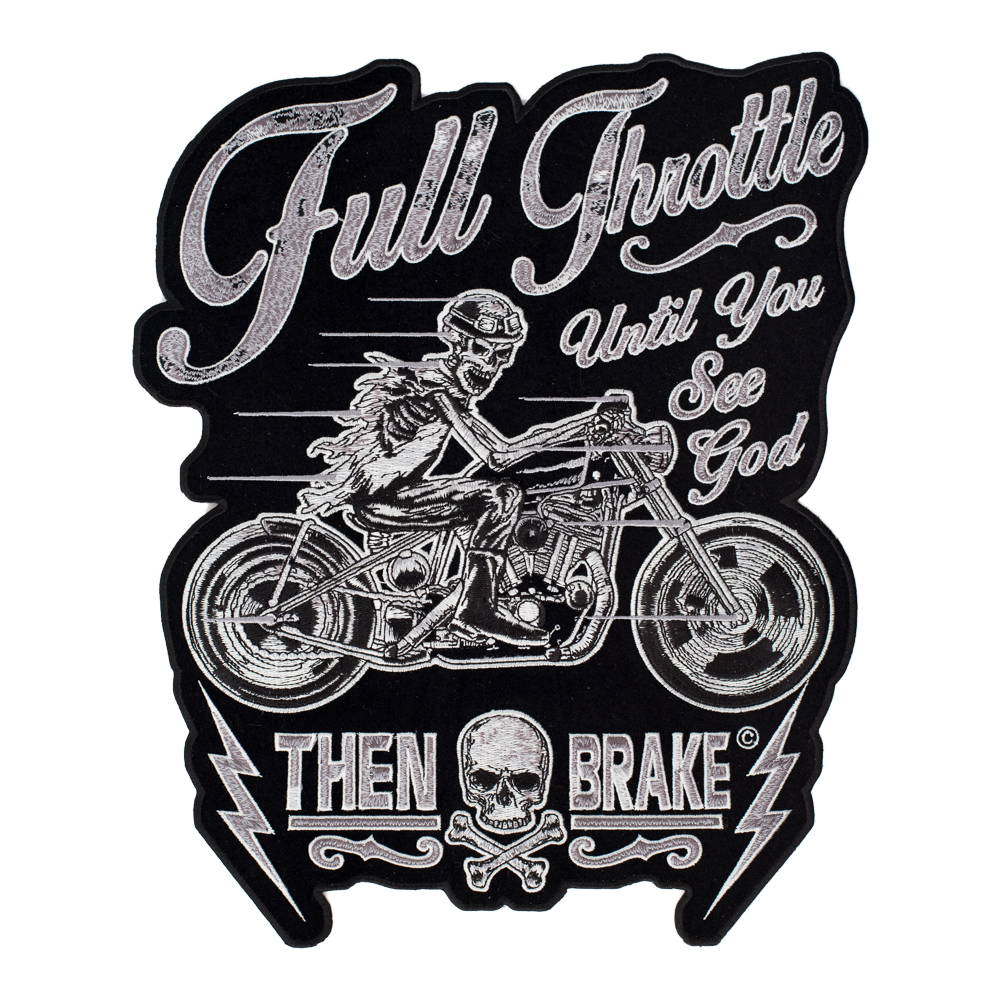 Full throttle until you see god riding skeleton patch biker back patches